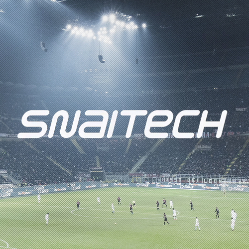 snailtech white logo with football stadium background
